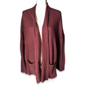 BDG maroon gray flare cuff open front cardigan